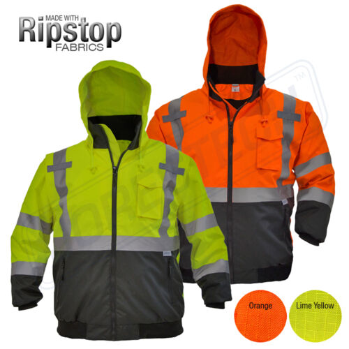 Hi-Vis Insulated Safety Bomber Reflective Jacket Coat Road Work HIGH JORESTECH