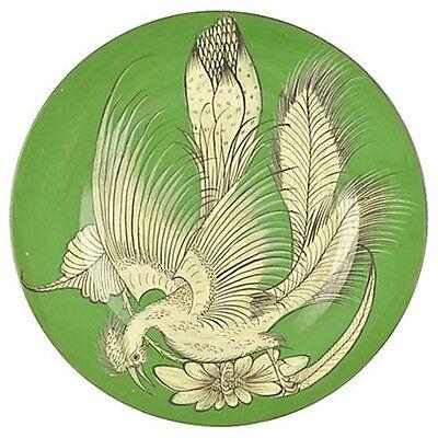 "Vintage Mexican Pottery Bruñido Bird Wall Charger Tlaquepaque 17"""