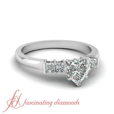 3/4 Ct Heart Shaped Diamond 14K Gold Engagement Ring Aligned Grid Bar Set GIA