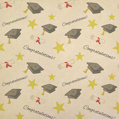 Graduation Congratulations Kraft Present Gift Wrap Wrapping Paper