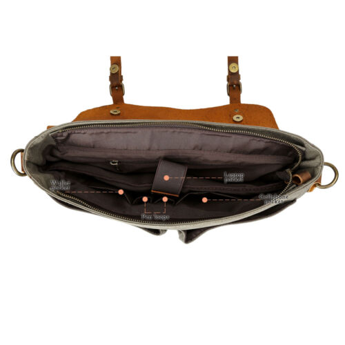 Men's Vintage Leather Canvas 14''Laptop Schoolbag Satchel Shoulder Messenger Bag