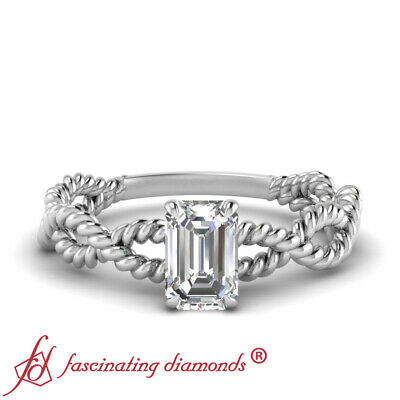 3/4 Carat Single Emerald Cut Diamond Rope Twisted Wedding Ring In 18K White Gold