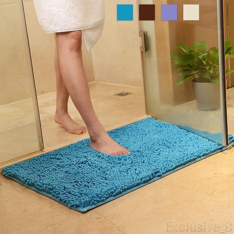 Soft Microfibre Shaggy Non Slip Absorbent Bath Mat Bathroom