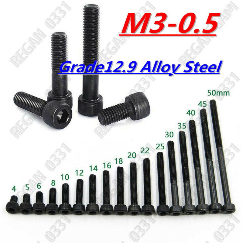 M3-0.5 Grade12.9 Black Alloy Steel Allen Hex Socket Cap Head Screw Bolt 4-50mm