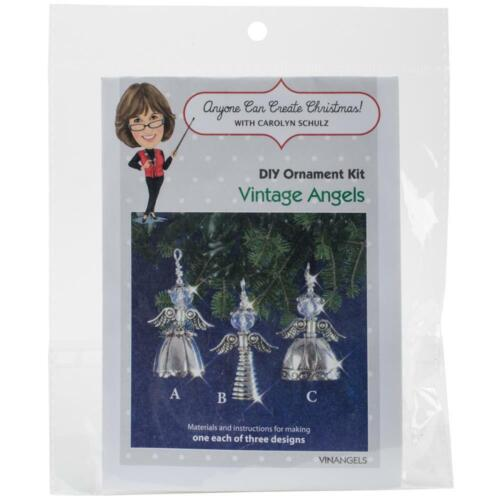 Solid Oak Nostalgic Christmas Beaded Crystal Ornament Kit Vintage Angels