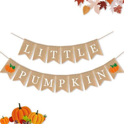 Burlap Baby Shower Banner (Jute Burlap Little Pumpkin Banner Fall Autumn Baby Shower Party Birthday)