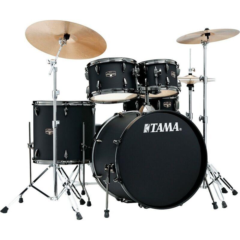 "TAMA Imperialstar 5-Piece Complete Drum Set 22"" Bass Meinl HCS Cymbals Black"