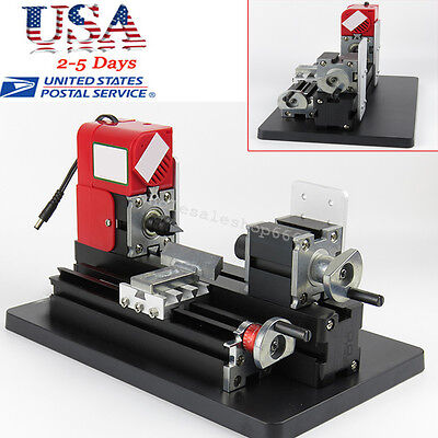 Us Mini Wood Lathe Motorized Machine Diy Tool Wood Materials Working 12v Dc