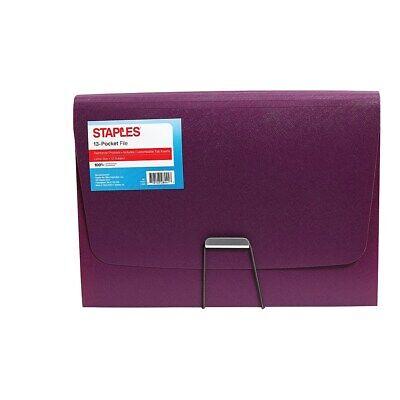 Staples Plastic 13 Pocket Reinforced Expanding Folder Letter Size Purple 2806372