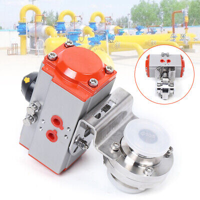 1 Pneumatic Actuator Butterfly Valve Tri Clamp Sanitary Stainless Steel