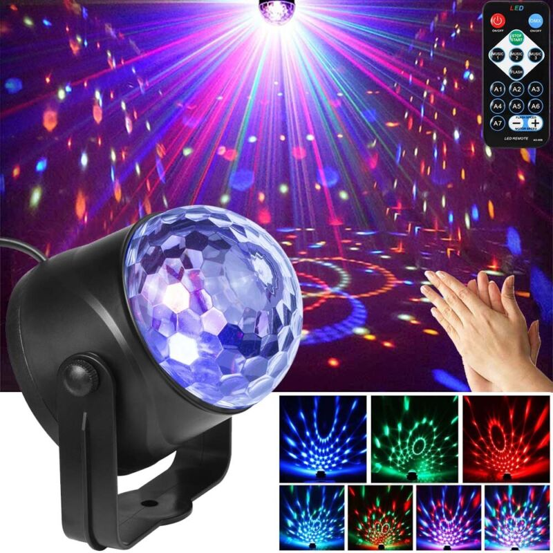 Disco Party Lights Strobe LED RGB Projector DJ Ball Sound Activated Dance Lamp