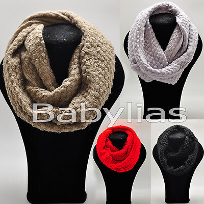 (Infinity Scarf Long Loop Soft Wrap Winter Knitted Scarves Shawl Neck Fashion)