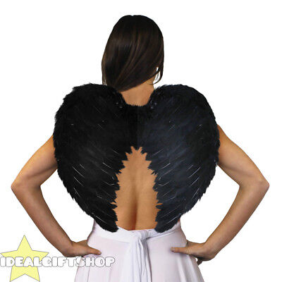 BLACK ANGEL WINGS FAIRY ADULTS FANCY DRESS FEATHER COSTUME OUTFIT LARGE](Large Black Feather Wings)