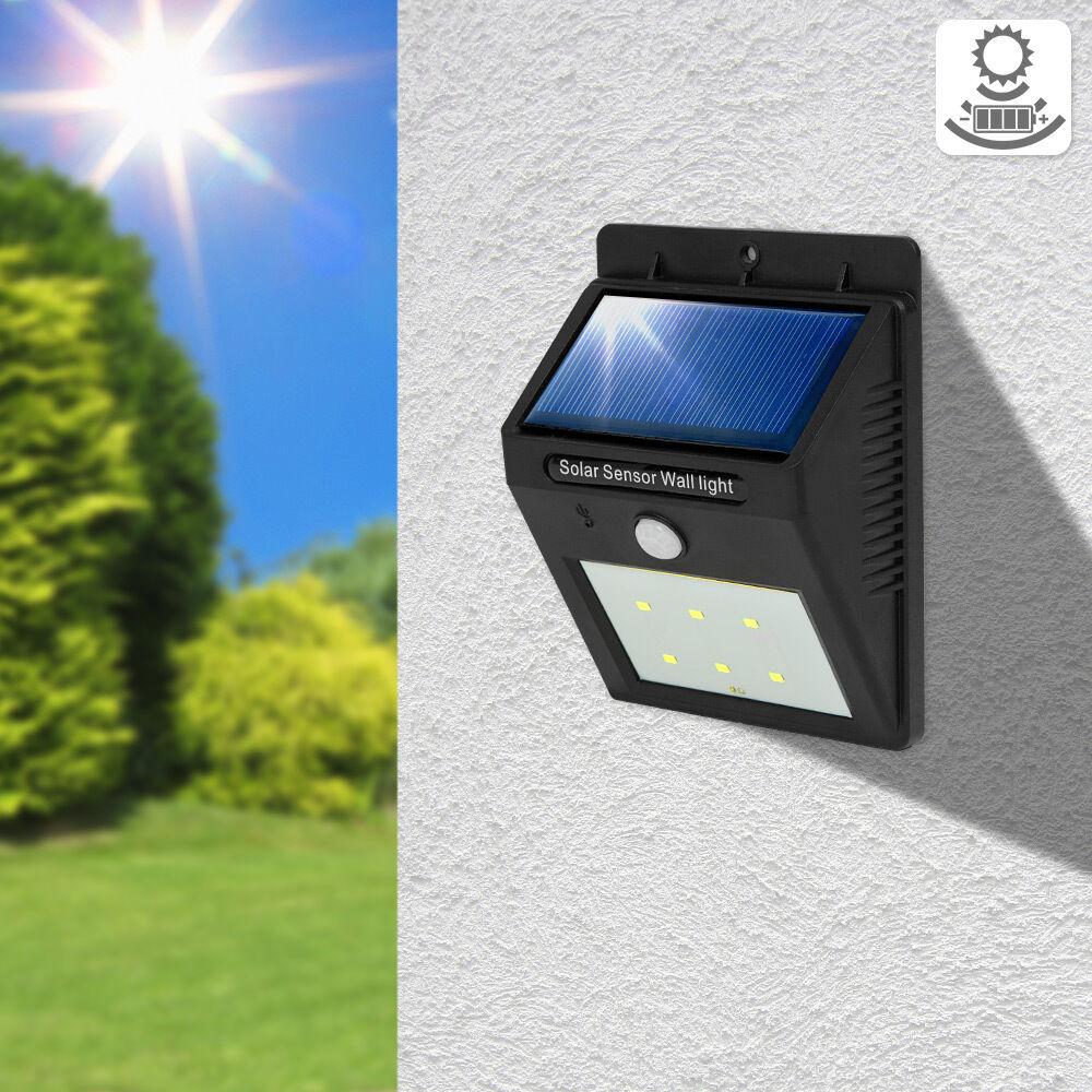 6x 6 led solar au enleuchte wandlampe gartenleuchte bewegungsmelder lampe garten eur 52 99. Black Bedroom Furniture Sets. Home Design Ideas