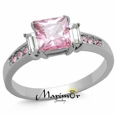 Stainless Steel  1.55 Ct Princess Cut Rose Zirconia Engagement Ring Size 5-10