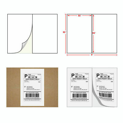 1-2000 Shipping Labels 8.5x5.5 Ebay Paypal Labels Self Adhesive 2 Per Sheet