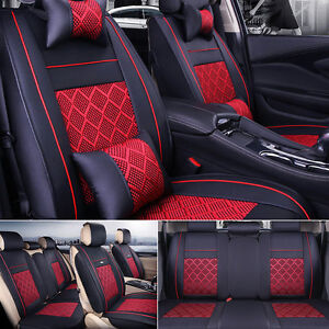 US 5-Seat Car PU Leather+Comfort Mesh Seat Covers Front+Rear Black/Red w/Pillows