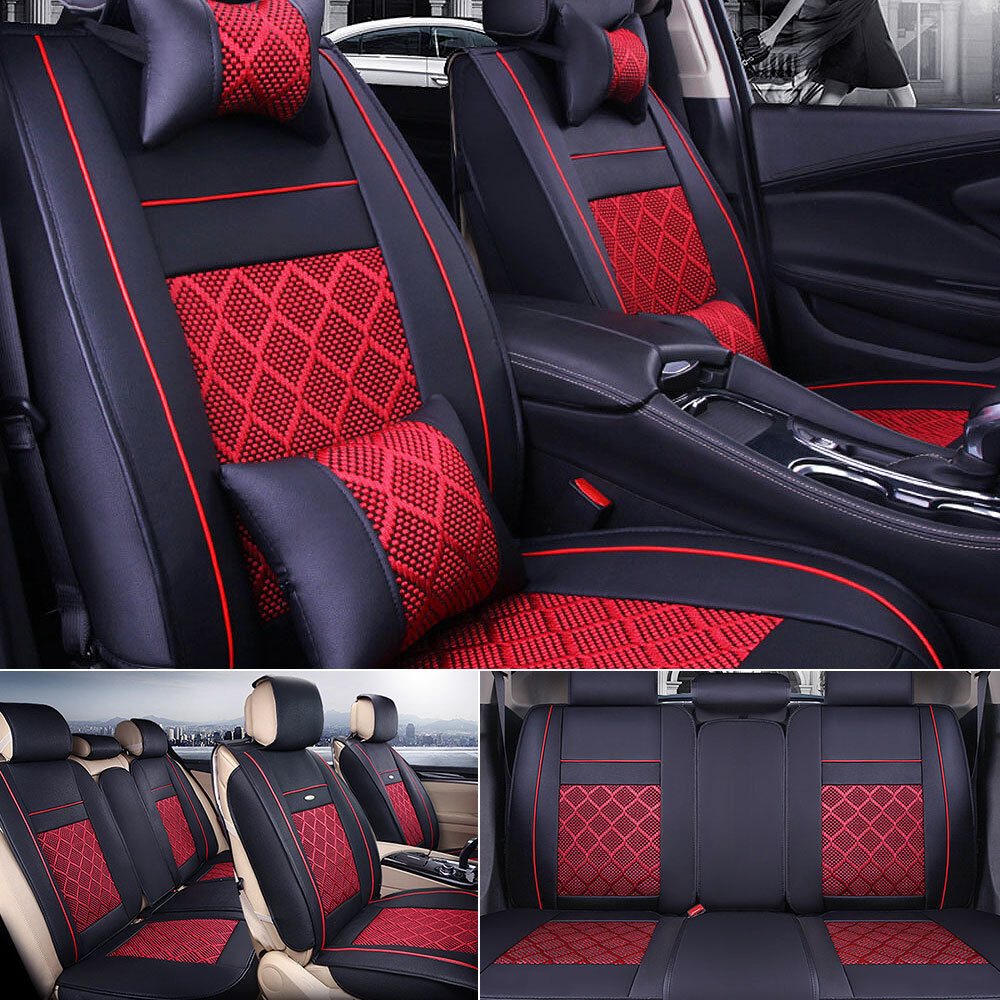 US PU Leather+Cooling Mesh Seat Covers Universal 5-Seat Car Front+Rear w/Pillows