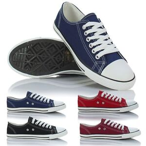 Ladies-Womens-Girls-Slim-Low-Sole-Canvas-Lace-Up-Pumps-Plimsolls-Trainers-Shoes