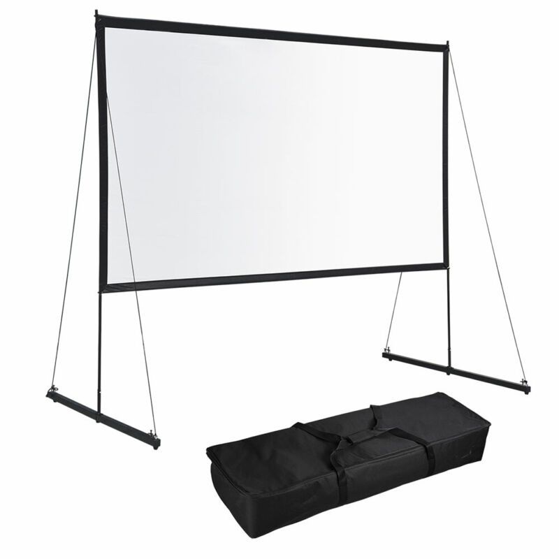 Portable Foldable Projector Screen w/ Stand 16:9 HD Home Theater Outdoor Movies