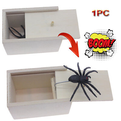 US SALE Funny Wooden Prank SPIDER Scare Box Home Office Practical Joke Gag Toy