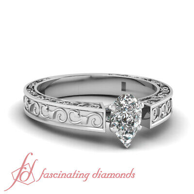 .80 Ct Pear Shaped Natural Solitaire Diamond Engagement Ring 14K GIA Certified