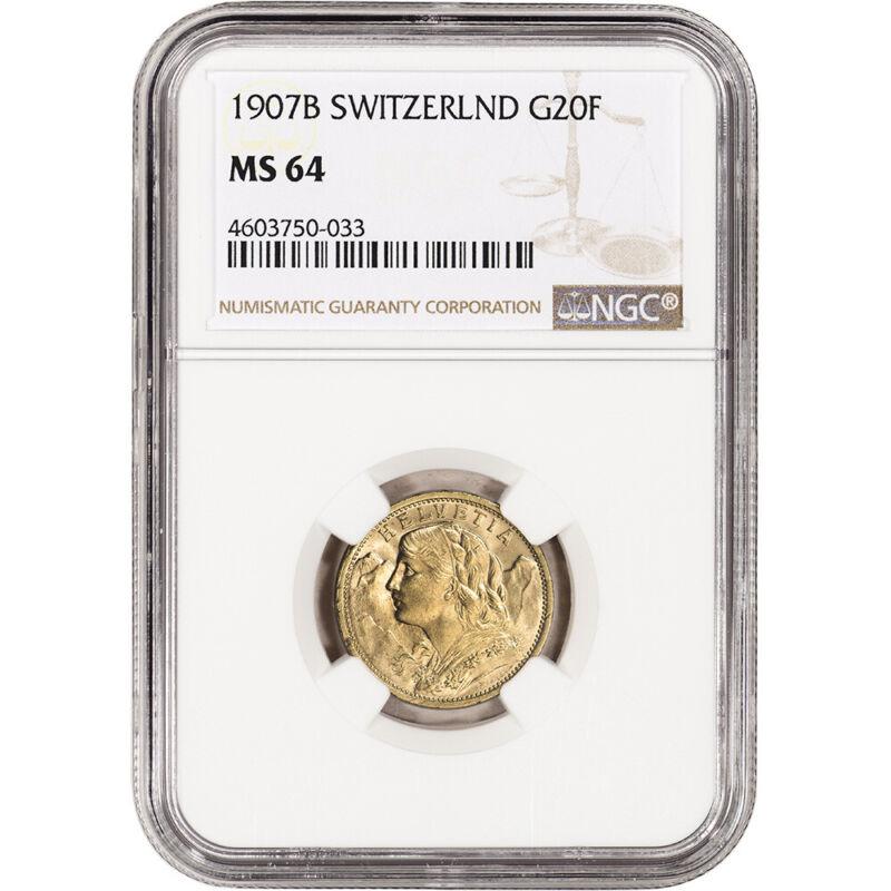 1907 B Switzerland Gold 20 Francs - NGC MS64