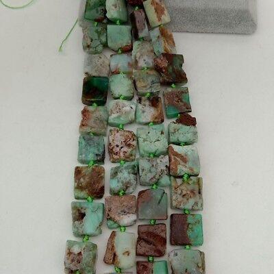 "SE11148 16mm Natural Chrysoprase square Gemstone Loose Beads 15.5"" Strand"
