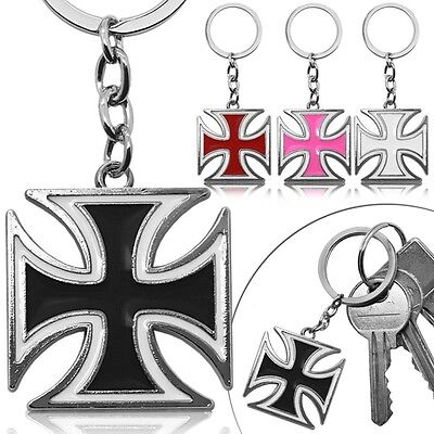 Keyfob Key-Chain Ring Crucifix Cross Pendant Black White Car-Key Key-Ring -