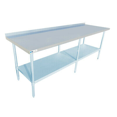 30 X 96 Stainless Steel Commercial Work Table 2 Backsplash