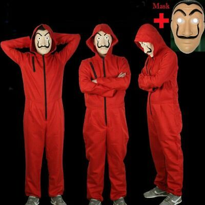 Salvador Dali Money Heist The House of Paper Cosplay Costume Jumpsuit + Mask UK^
