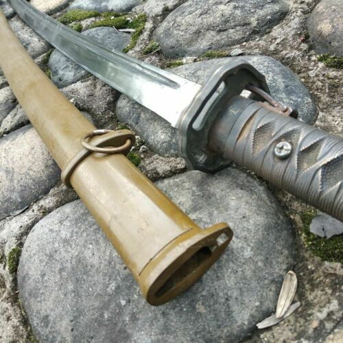 Vintage Military Japanese Army Nco Katana Sword Carbon Steel Blade Brass Handle