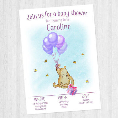 10 x PERSONALISED BABY SHOWER WINNIE THE POOH INVITATIONS BABY GIRL + ENVELOPES - Personalized Winnie The Pooh Baby Shower Invitations