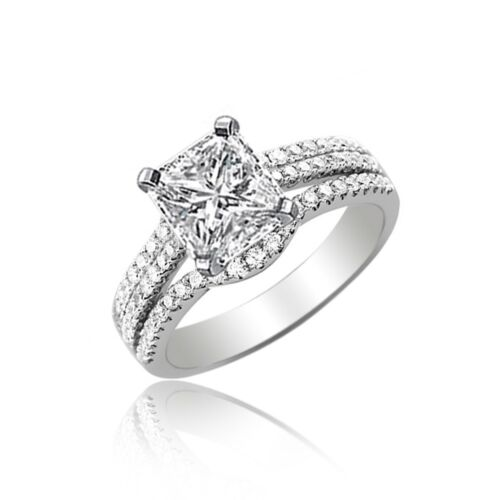 GIA certified Radiant Cut Diamond Engagement Ring 2.25  CTW 18K Gold