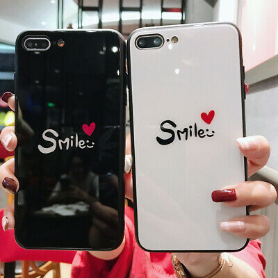 Tempered Glass case Smile Heart Couples Cover for iPhone 6 7 8 XS R 11 pro