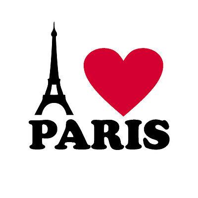 Aufkleber I love Paris - Eiffelturm - Tattoo Auto Decal Folie black red 18 cm (Paris Aufkleber)