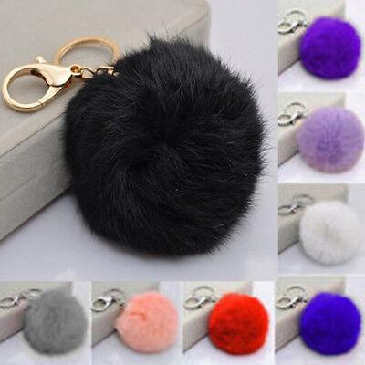 - Christmas Key Ring Rabbit Fur Ball PomPom Phone Car Keychain Pendant Handbag
