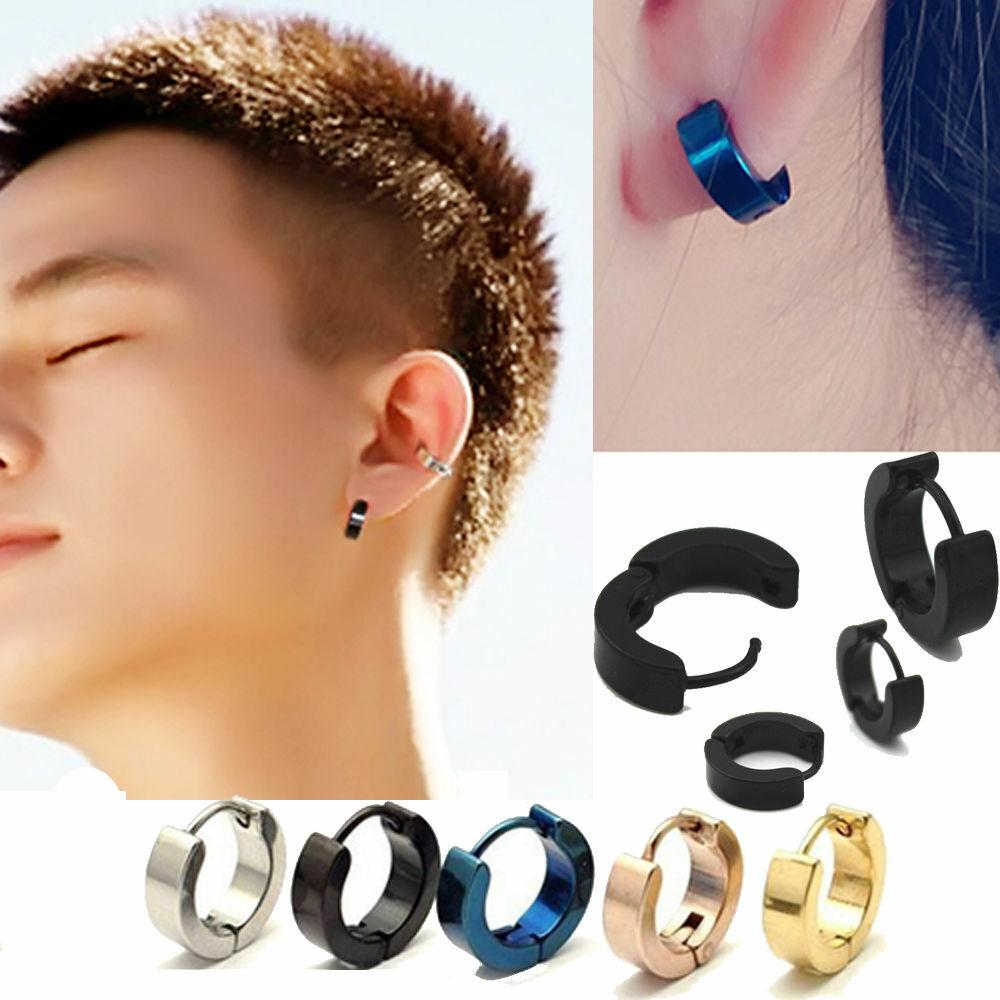 1Pair Punk Mens Women Stainless Steel Hoop Huggies Ear Stud Earrings Gothic US Earrings