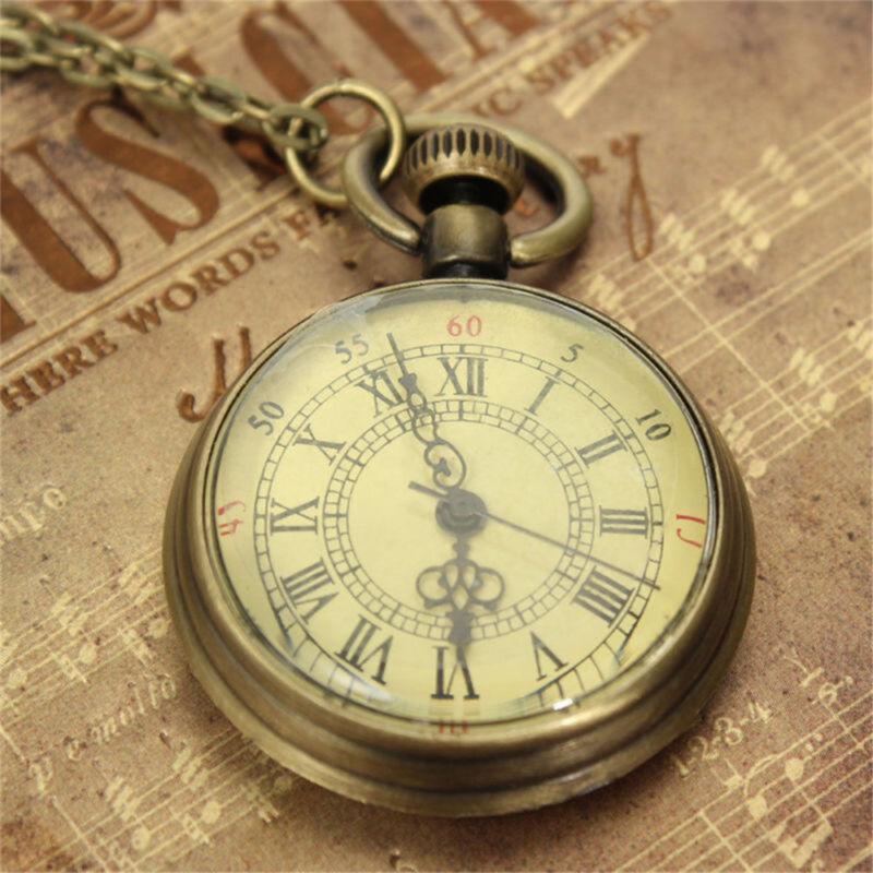 Antique Vintage Bronze Glass Steampunk Pocket Watch Chain Ne