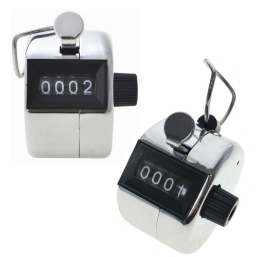 2PCS Metal Sliver Hand Tally Counter, Mechanical Palm Counter Clicker