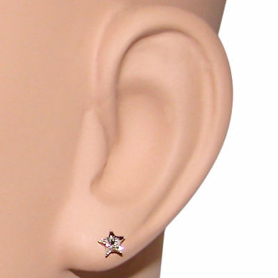 (Star Crystal Stud Earrings Iwth Nylon Stud, Made in USA!)