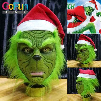 Die Grinch Maske mit Weihnachtsmütze Party Prop Cosplay Kostüm gestohlen (Grinch Kostüm Maske)