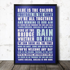 chelsea football song lyrics poster chant blue is the colour fc