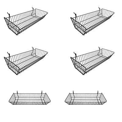 Set Of 6 Pcs Black Metal Wire Large Double Sloping Basket