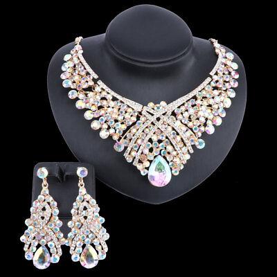 (Austrian Crystal Bridal Floral Wave Teardrop Necklace Earrings Jewelry Set)