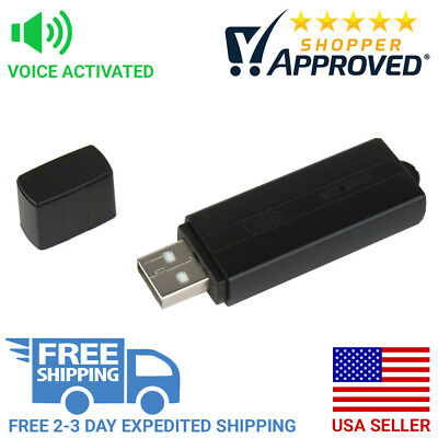 Voice Activated Pro Grade USB Flash Drive Spy Audio Recorder Long Life Battery