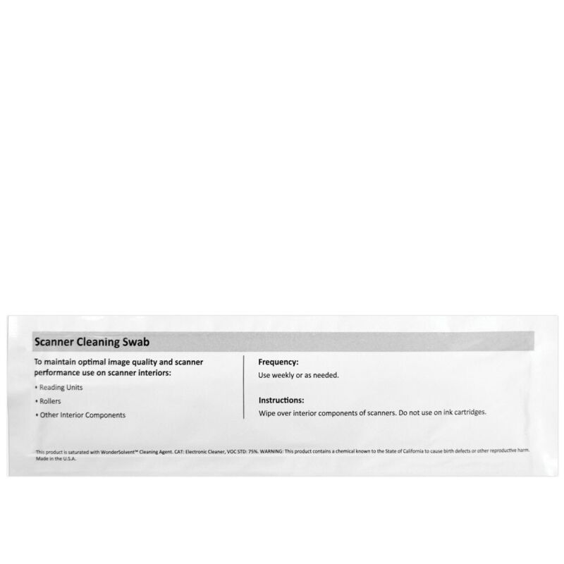 Scanner Cleaning Swabs 6 inch, w/ Wonder Solvent (IPA Free)