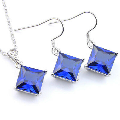 Party Jewelry Set Shiny Square Swiss Blue Topaz Gemstone Silver Pendant Earrings