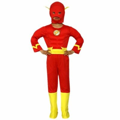 The Flash Costume Cosplay Muscle Toddler Child Kids Boys Superhero 3-10Y - Flash Boys Costume