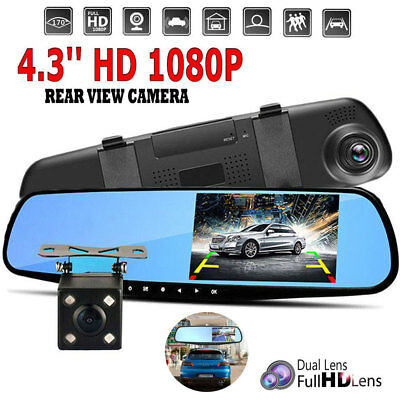 Dual Lens 1080P Full HD Car Auto DVR Mirror Dash Cam Recorder+Rear View Camera